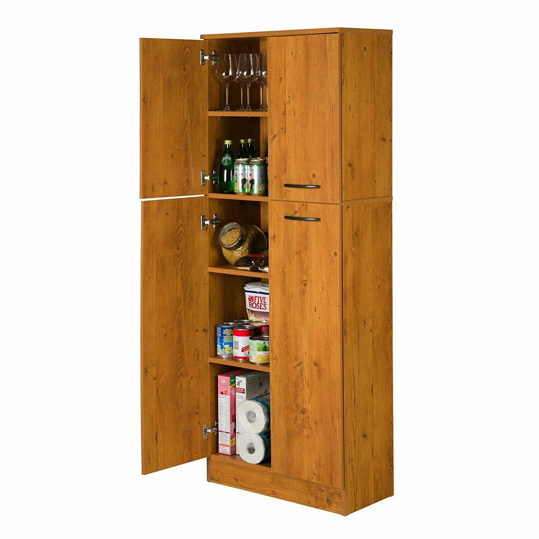 Details About Large Wooden Pantry Utility Storage Cabinet 4 Door 5 Shelves Garage Kitchen