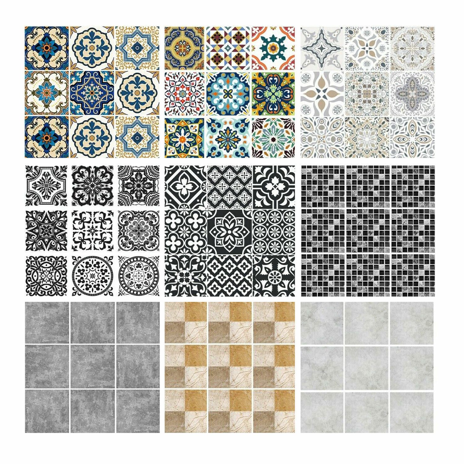 Home Decoration - Tile Wall Stickers Transfers Moroccan Mosaic Pattern Home Self-Adhesive Sticker