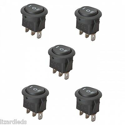 5x 3-position Onoffon Round Rocker Switch Circular Black Car Motorcycle Boat