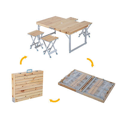 Outsunny Picnic Chair Table Set Wood Adjustable Outdoor Folding Portable Camping