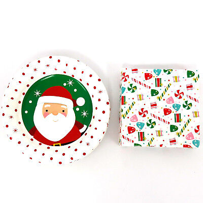 """7"""" Christmas Decorative Paper Plates and Napkins Set Dinnerware Party Serves 18"""