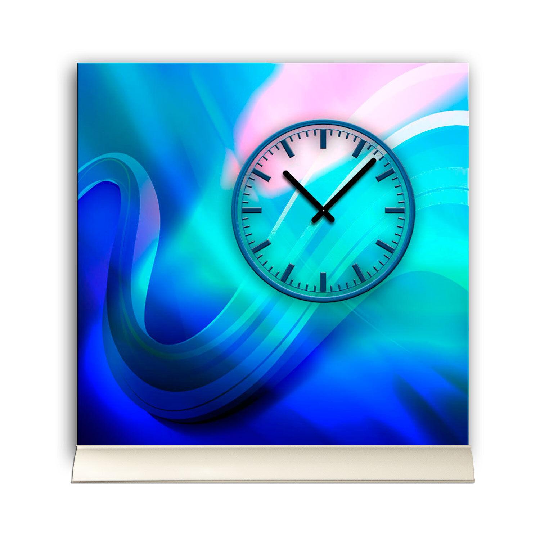 Ando Wohndesign: Tischuhr 30cmx30cm Inkl. Alu-Ständer -moderne Design Blau