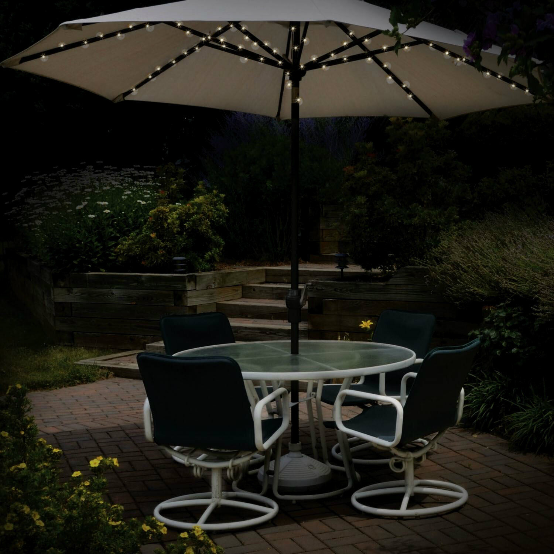 60 led solar powered garden parasol umbrella chain light 6 strut fairy lights ebay. Black Bedroom Furniture Sets. Home Design Ideas