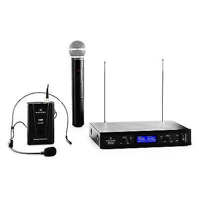 Wireless Microphones Set Studio Mic Headset Hand Held 2-Channel VHF Receiver