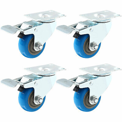 Set 4 Swivel Plate Casters 3 Blue Polyurethane Wheels Total Lock Brake