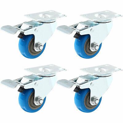 Set 4 Swivel Plate Casters 3 Blue Polyurethane Wheels Total Lock Brake