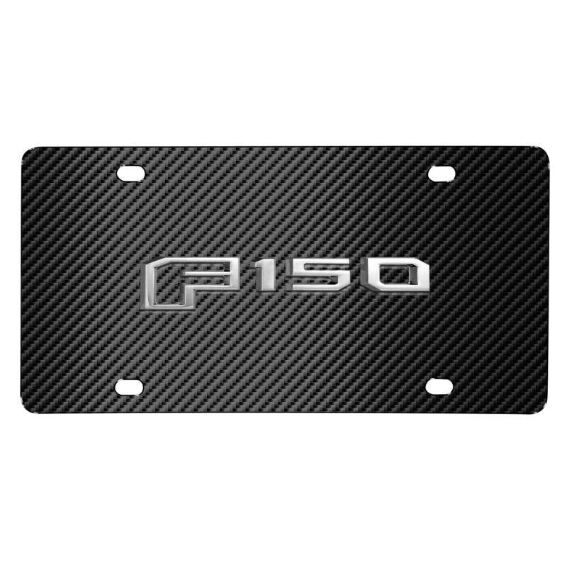 Ford F-150 New 3D Metal Logo Black Carbon Fiber Patten Steel License Plate