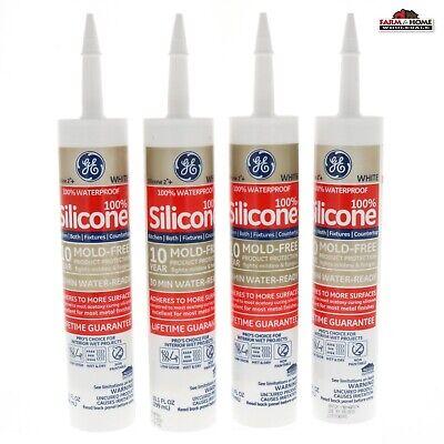 4 Waterproof Silicone White Caulk Kitchen Bath New