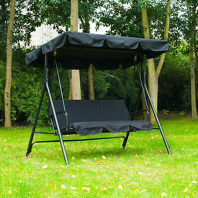 Porch Swing Hammock Bench Lounge Chair Steel 3-seat Padded Outdoor w/Canopy ()