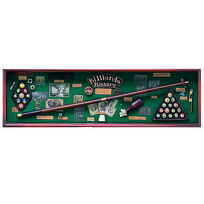 Wooden Gameroom Art Billiards History Showcase w/ FREE Shipping