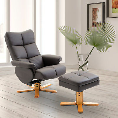 Leather Recliner and Ottoman Set Swivel Seat Wood Base Living Room Furniture