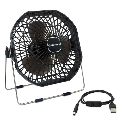 Helect 7-Inch Mini USB Desk Fan with Low Noise and Strong Airflow