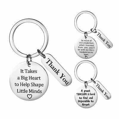3PCS Appreciation Gifts for Teachers Keychain Keyring Thanksgiving Day Men Women
