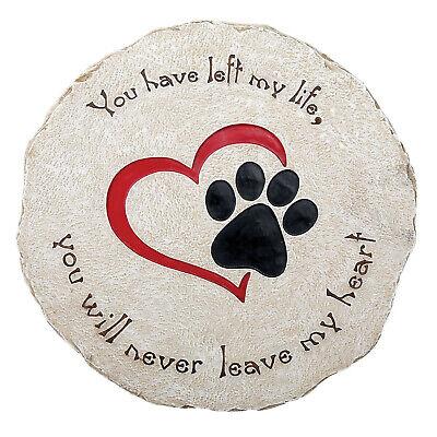 Round Pet Memorial Garden Stone - Headstone Grave Marker Heart & Paw Plaque Garden Stone Plaque