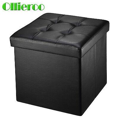 Ollieroo Folding Ottoman Storage Box Seat Chest PU Leather Foot Stool Top