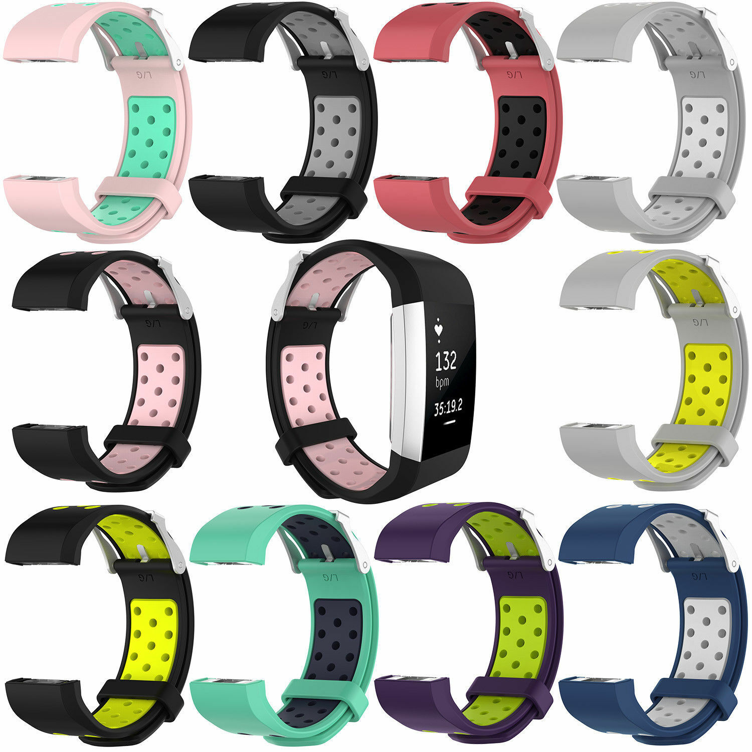 Replacement Silicone Sports Strap Wrist Band Bracelet For Fitbit Charge 2 / 2 HR 7