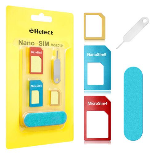 Helect SIM Card Adapter 5-in-1 Nano & Micro SIM Card Adapter Kit Converter