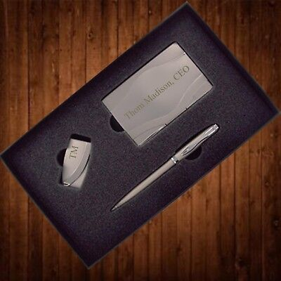 Personalized Business Card Case Gift Set Money Clip Pen Christmas Gift For Him