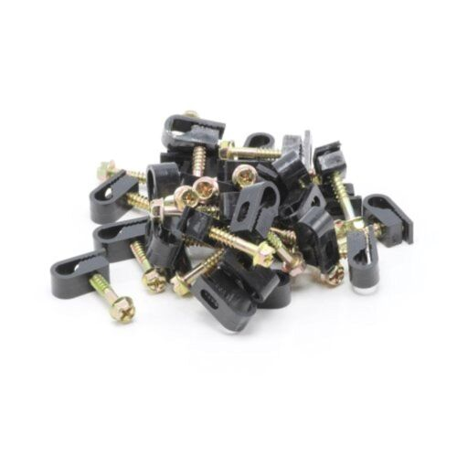 """15 X 1"""" Black Self Tapping Flex Clips Coax Rg6 Cable Screw Wall Mounting Tv Wire"""