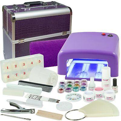 Mobile Starter Kit (Mobiles Nagelstudio Set UV Gel Starterset Nagelset Einsteigerset + Koffer Lila)