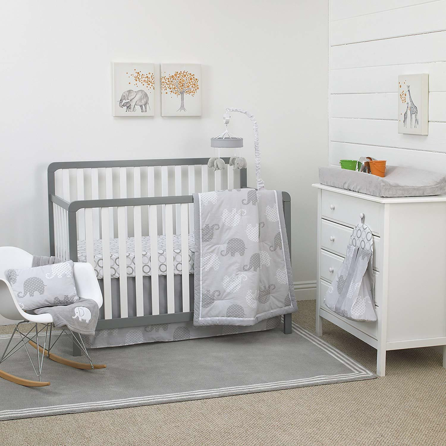 NoJo Elephant 8-Piece Nursery Crib Bedding Set, Grey/White/C