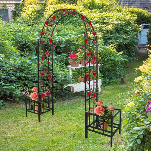 """89.8""""H Garden Metal Arch Trellis Archway Planters Wedding Party Bridal Outdoor"""