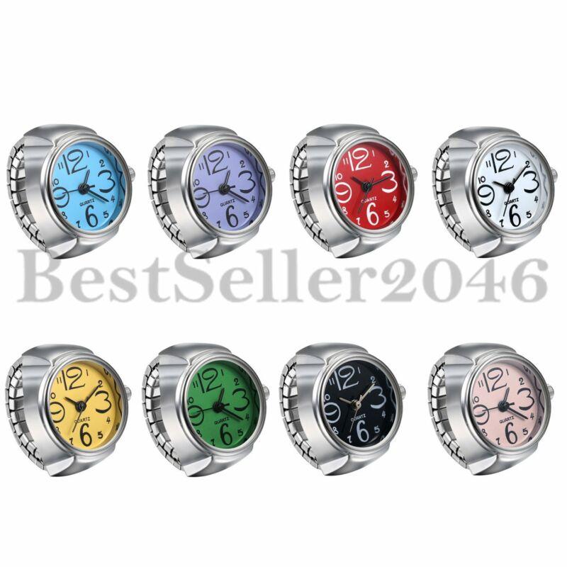 Men Women Creative Elastic Round Ring Watch Stainless Steel Finger Quartz Watch