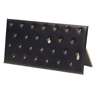 Black Faux Leather Pendant Jewelry Display Holder Easel Pad