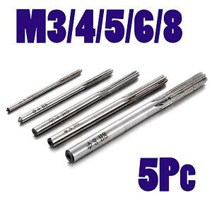 5Pc M3 M4 M5 M6 M8 Hand Reamer Set Metric H8 6 Flutes Blades Milling Cutter
