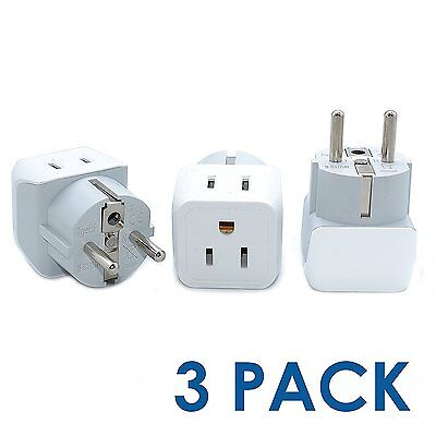 Ceptics USA to Schuko Germany, France, Russia Travel Adapter Plug - Type E/F (3