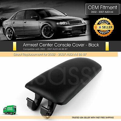 Audi Armrest Lid Cover Black Leather Center Console Base A4 A6 B6 B7 S6 01-2007