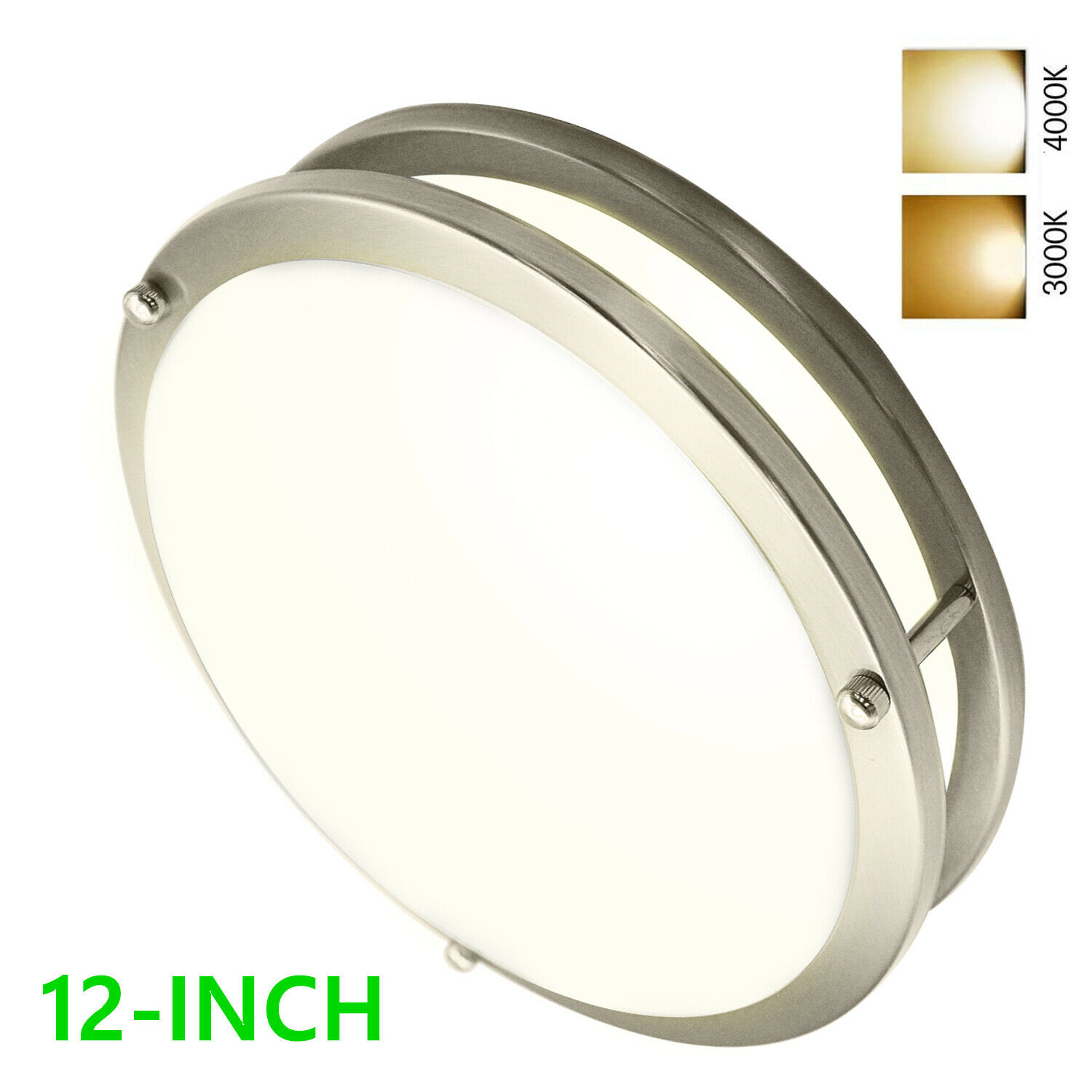 BrightHome 12'' Dimmable Led flush mount drum ceiling light