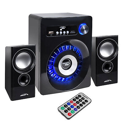 Bluetooth Multimedia Lautsprecher Subwoofer Fernbedienung Radio AUX USB SD Mp3