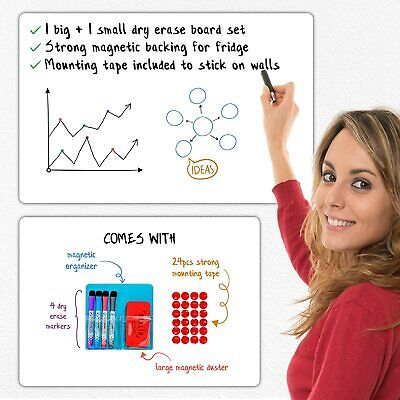 Magnetic Dry Erase White Board Set 2 Large Small White Boards For Wall