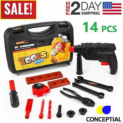 Boy Toddler Games (Toddler Boy Toy Tool Set Box Workbench Pretend Play Kid Drill Girl Learning)