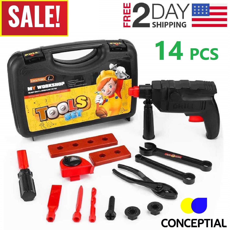 Toddler Boy Toy Tool Set Box Workbench Pretend Play Kid Dril