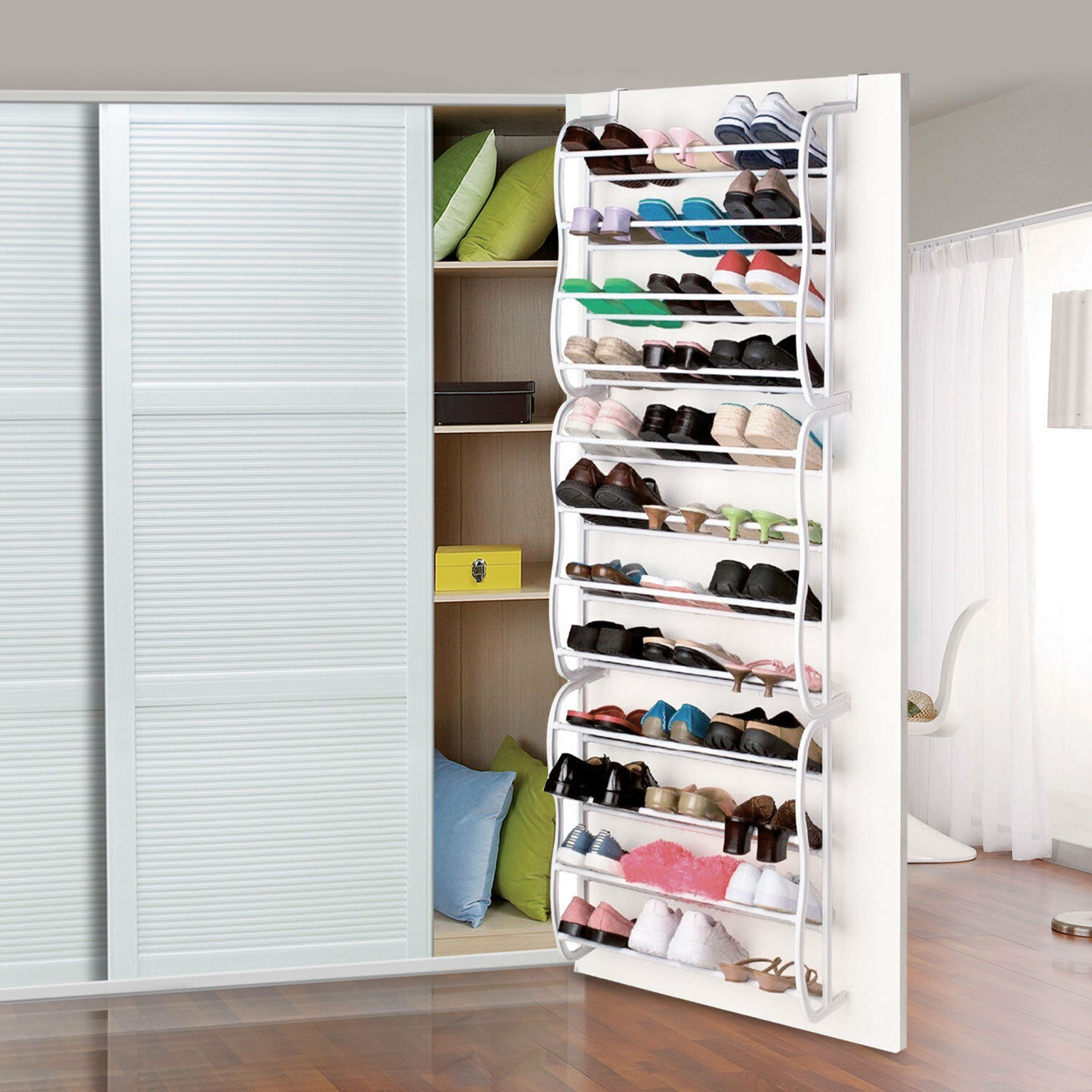 Details About Hanging Shoes Organizer Over The Door For 36 Pairs Shoe Rack Closet Space Saving