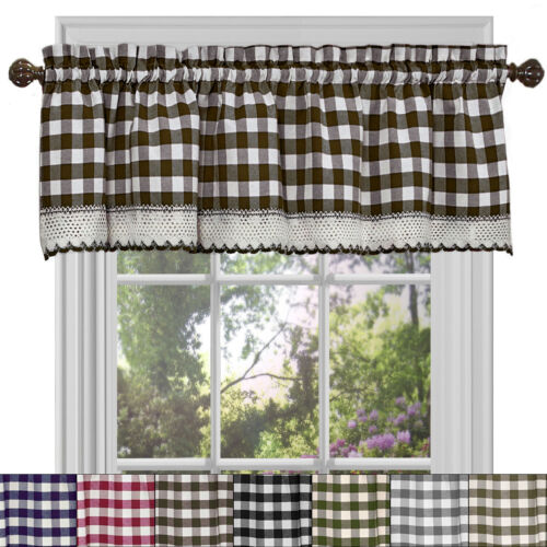 Buffalo Check Gingham Kitchen Curtain Valance – 14″ x 58″ Cornices & Valances