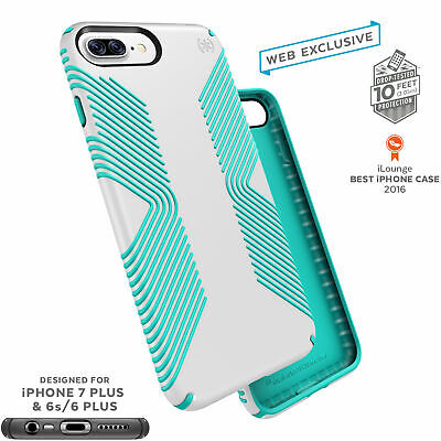 Speck Presidio Grip Classic Edition iPhone 7 Plus Cases White/Jewel Teal Classic Cell Phone Case