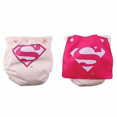 NEW Bumkins Cape Superwoman Superman Pink Cloth Diaper Superhero Supergirl - Superwoman Cape