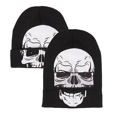 Down Beanie (Skull Face Flip-Down Beanie)