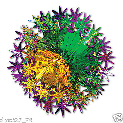 1 MARDI GRAS Fat Tuesday Party HANGING Decoration Metallic STAR BALL 12