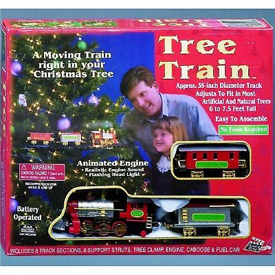 New Light Sounds ANIMATED CHRISTMAS TRAIN SET Holiday Decoration Mounts in Tree