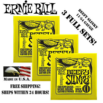 ** 3 SETS! ERNIE BALL BEEFY SLINKY ELECTRIC GUITAR STRINGS 2627 ** Ernie Ball Beefy Slinky String