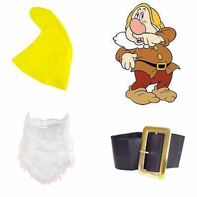 Snow White Seven Dwarfs Fancy Dress SNEEZY SET Yellow Hat Beard Belt Fairy Tale - Seven Dwarfs Fancy Dress Costumes