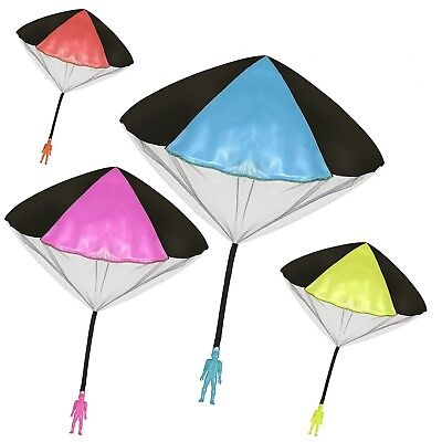 """4Pack Tangle Free Throwing Toy Parachute Man with Large 20"""" Parachutes! 4 Colors"""