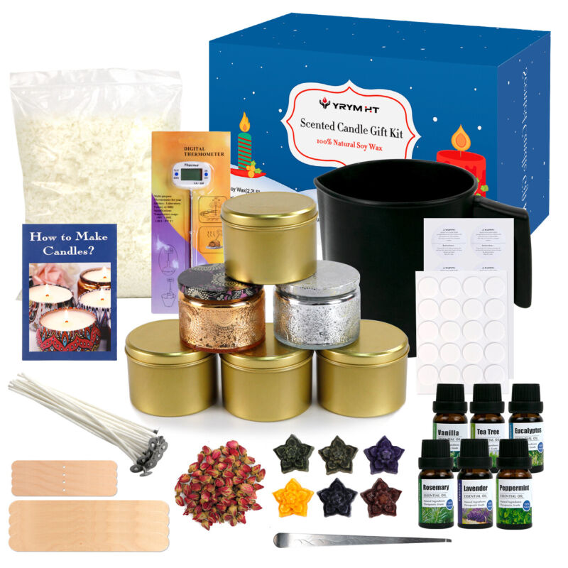 YRYM HT Candle Making Kit for Adult - Easy to Make Candle 100% Soy Wax Gift Kit