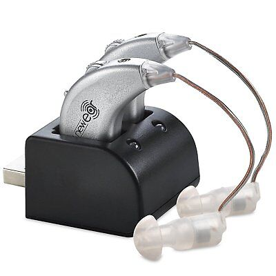 2 Digital Hearing Aids USB Rechargeable Pair Sound Amplifier Behind The Ear BTE