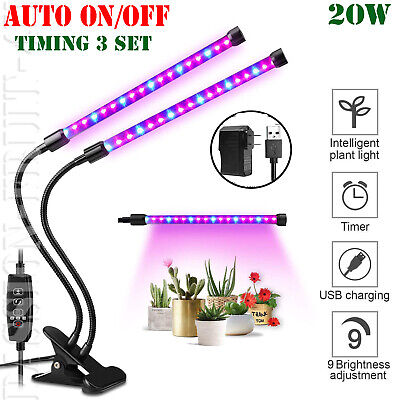 Dual Head Plant Grow Light Lamp + 40 LED for Indoor Plants Hydroponics 20W (Led Grow Lamps)