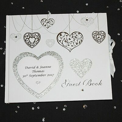 Personalised Silver Heart White Wedding Guest Book - Christening Birthday Party